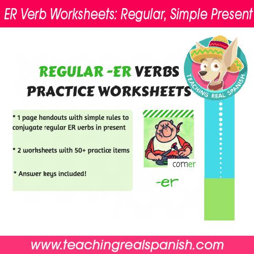 er verb worksheets regular simple present