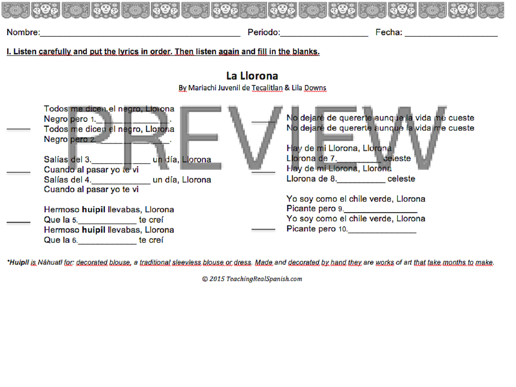 La Llorona ReadingListening Preterit vs Imperfect – Preterite Vs Imperfect Practice Worksheets