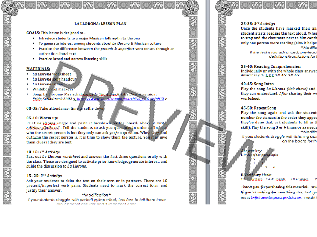 La Llorona ReadingListening Preterit vs Imperfect – Preterite Vs Imperfect Worksheet with Answers