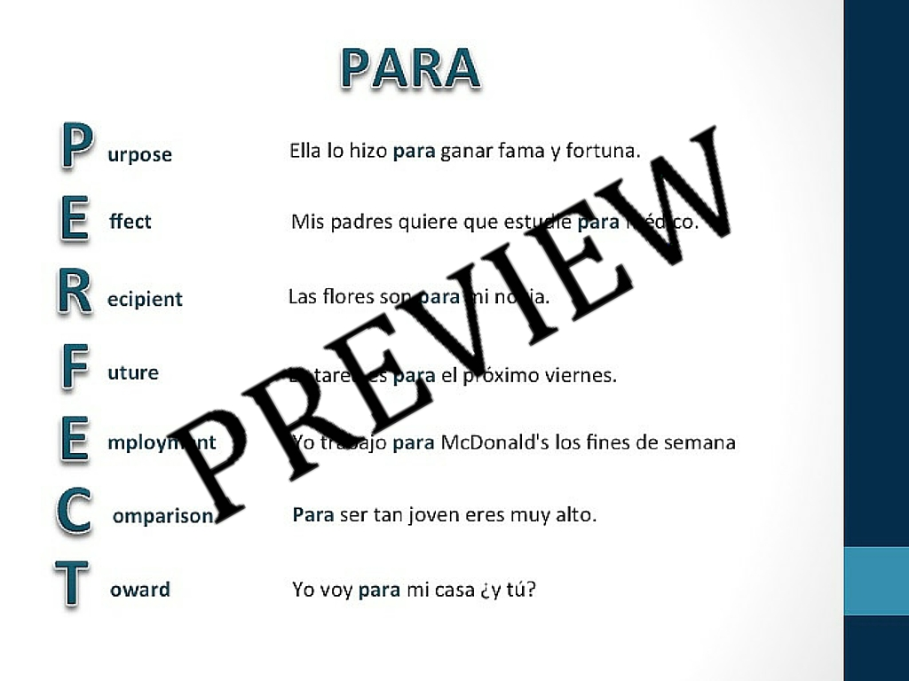 Worksheets Por Vs Para Worksheet por vs para powerpoints practice sheets teachingrealspanish com sheets