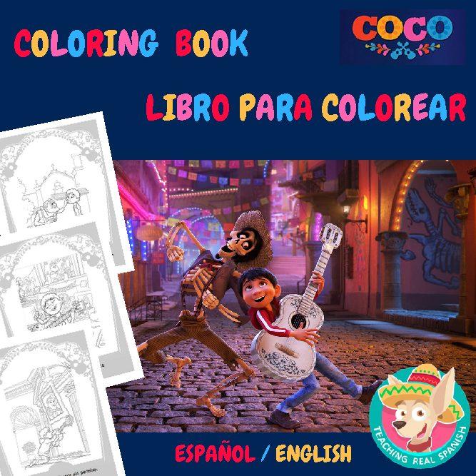Coco – Coloring Book / Libro Para Colorear (Bilingual Version)  TeachingRealSpanish.com